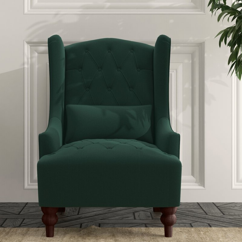 """Wetumka 17"""" Wingback Chair Regarding Marisa Faux Leather Wingback Chairs (View 15 of 20)"""