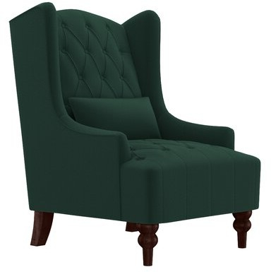"""Wetumka 17"""" Wingback Chair Upholstery Color: Emerald Green Velvet Intended For Blaithin Simple Single Barrel Chairs (View 16 of 20)"""