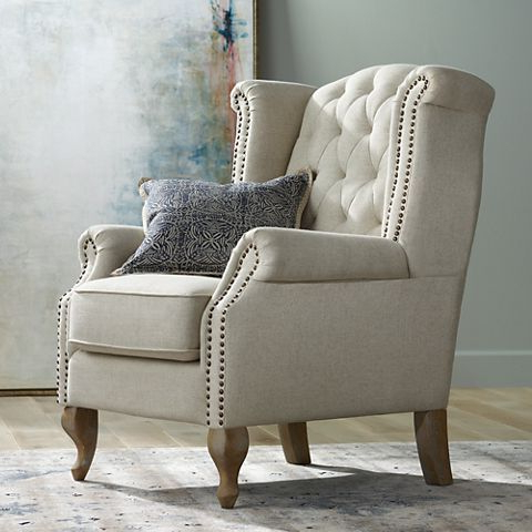 Williamsburg Natural Linen Tufted Wingback Armchair – #10m58 Intended For Ragsdale Armchairs (View 10 of 20)