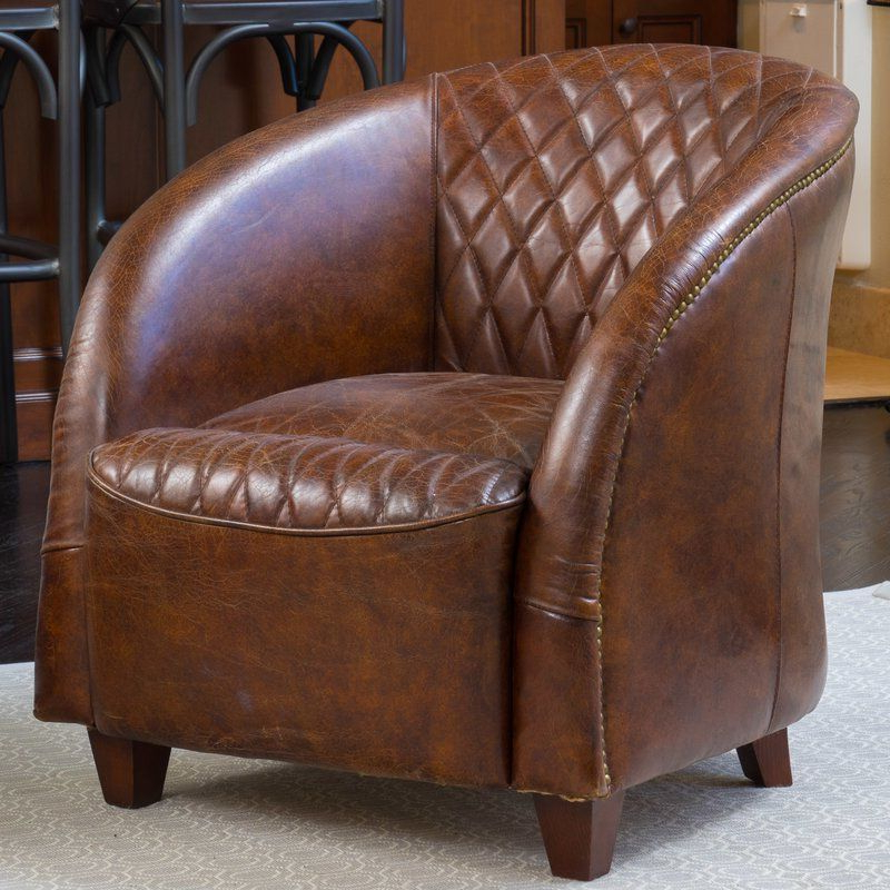 Wilmette Tufted Leather Barrel Chair | Leather Club Chairs For Sheldon Tufted Top Grain Leather Club Chairs (View 6 of 20)