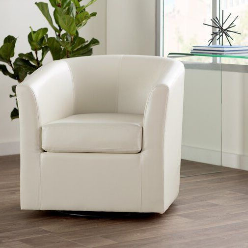 """Wilmore 30"""" W Faux Leather Swivel Barrel Chair   Barrel Pertaining To Molinari Swivel Barrel Chairs (View 18 of 20)"""