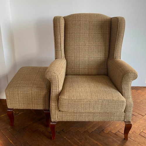 Wingback Chair & Ottoman, 1990s Pertaining To Busti Wingback Chairs (View 7 of 20)