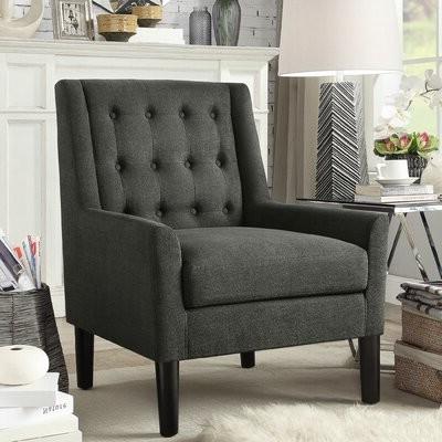 """Wittenberg 30"""" W Tufted Velvet Armchair Fabric: Charcoal For Didonato Tufted Velvet Armchairs (View 15 of 20)"""