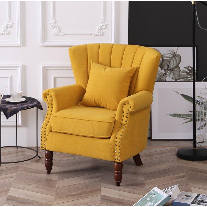 """Xan 29"""" W Velvet Wingback Chair Regarding Lauretta Velvet Wingback Chairs (View 17 of 20)"""