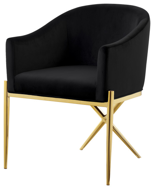Xavier Velvet Dining Chair, Black, Gold Legs With Regard To Erasmus Side Chairs (View 13 of 20)