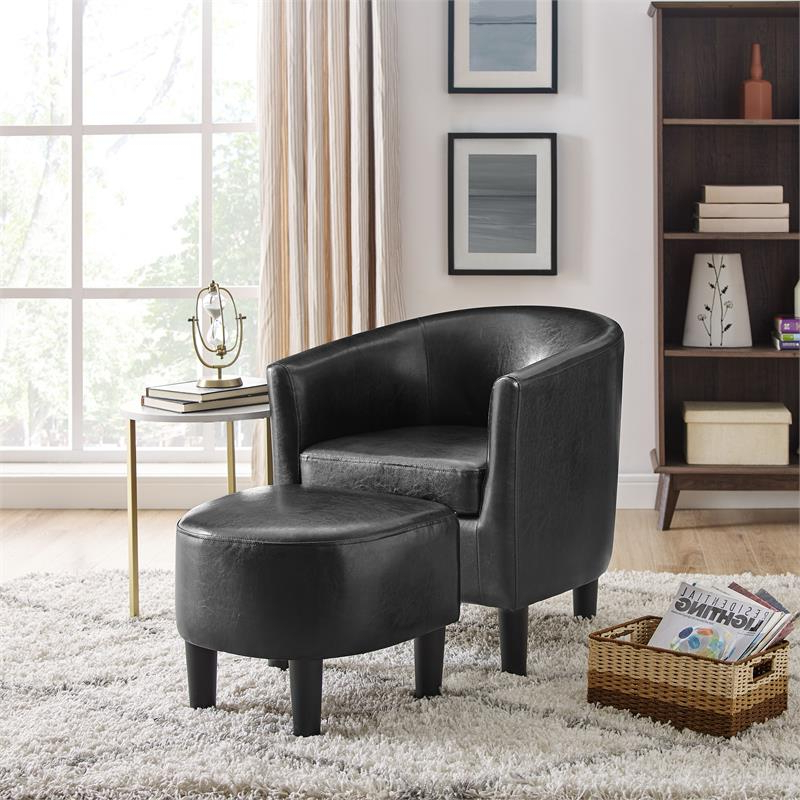 Yl Grand Jazouli Faux Leather Barrel Accent Chair And Ottoman In Black Within Jazouli Linen Barrel Chairs And Ottoman (View 9 of 20)