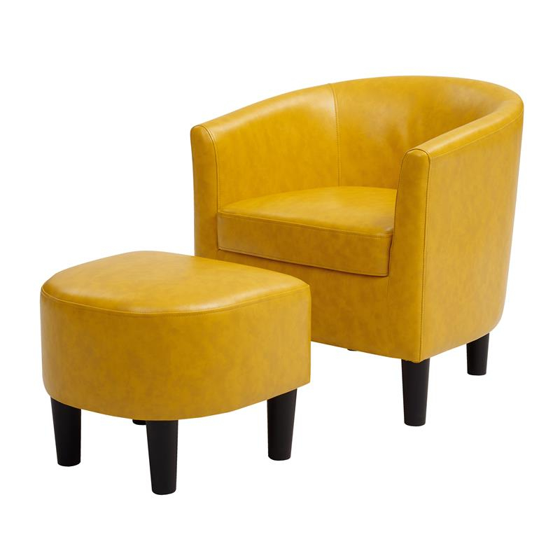 Yl Grand Jazouli Faux Leather Barrel Accent Chair And Ottoman In Yellow Throughout Faux Leather Barrel Chair And Ottoman Sets (View 7 of 20)