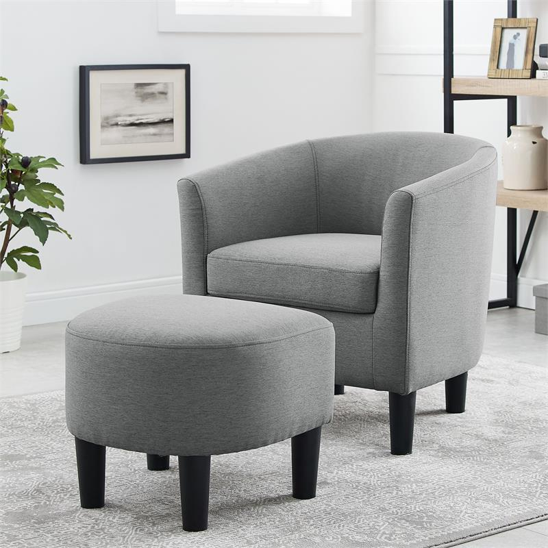 Yl Grand Jazouli Wood And Microfiber Barrel Accent Chair And Ottoman Gray With Jazouli Linen Barrel Chairs And Ottoman (View 12 of 20)