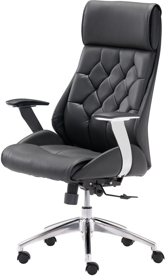 Zuo Modern Boutique Faux Leather Adjustable Desk Chair Throughout Giguere Barrel Chairs (View 18 of 20)
