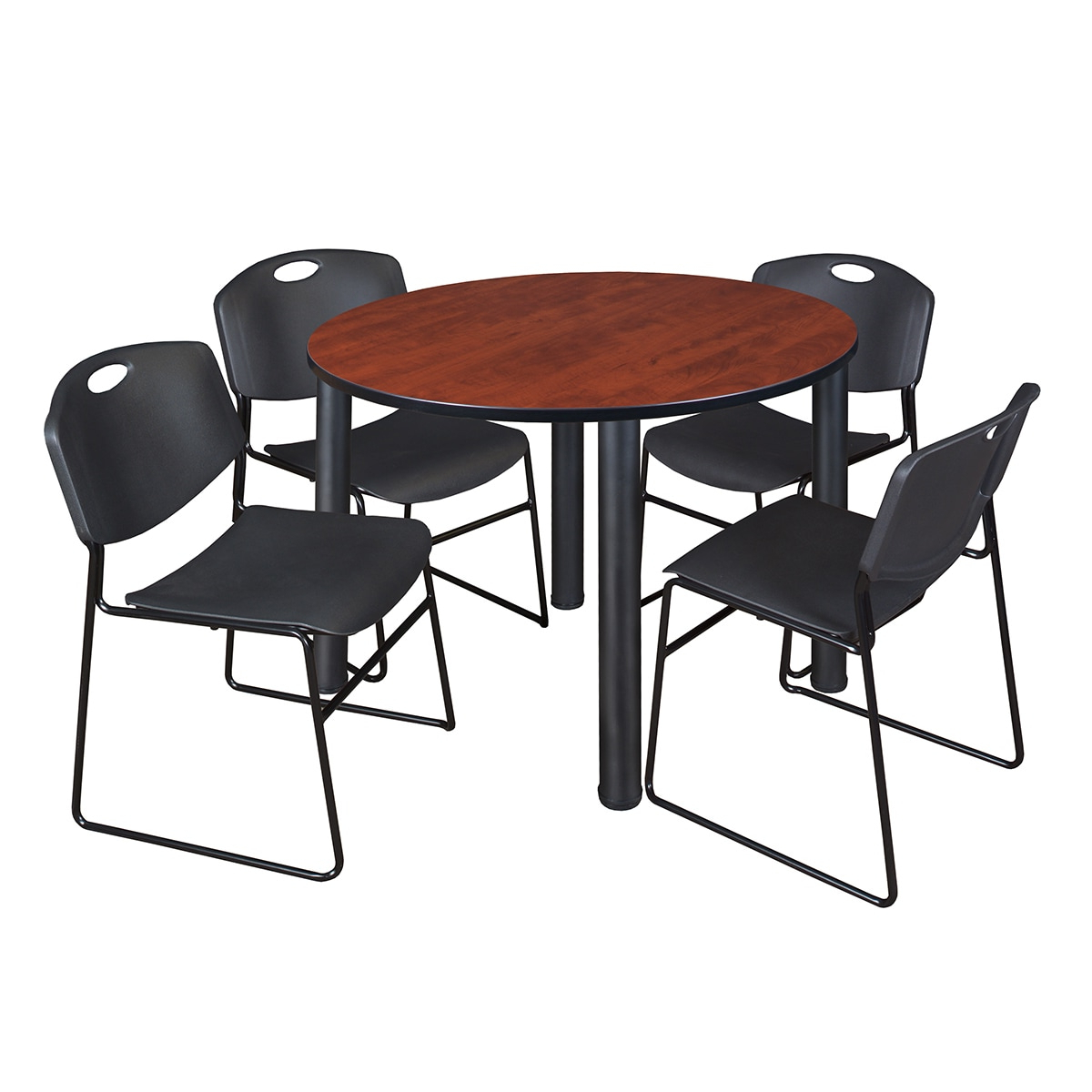"2019 Kee 48"" Round Breakroom Table Black & 4 Zeng Stack Chairs Within Round Breakroom Tables And Chair Set (View 18 of 20)"