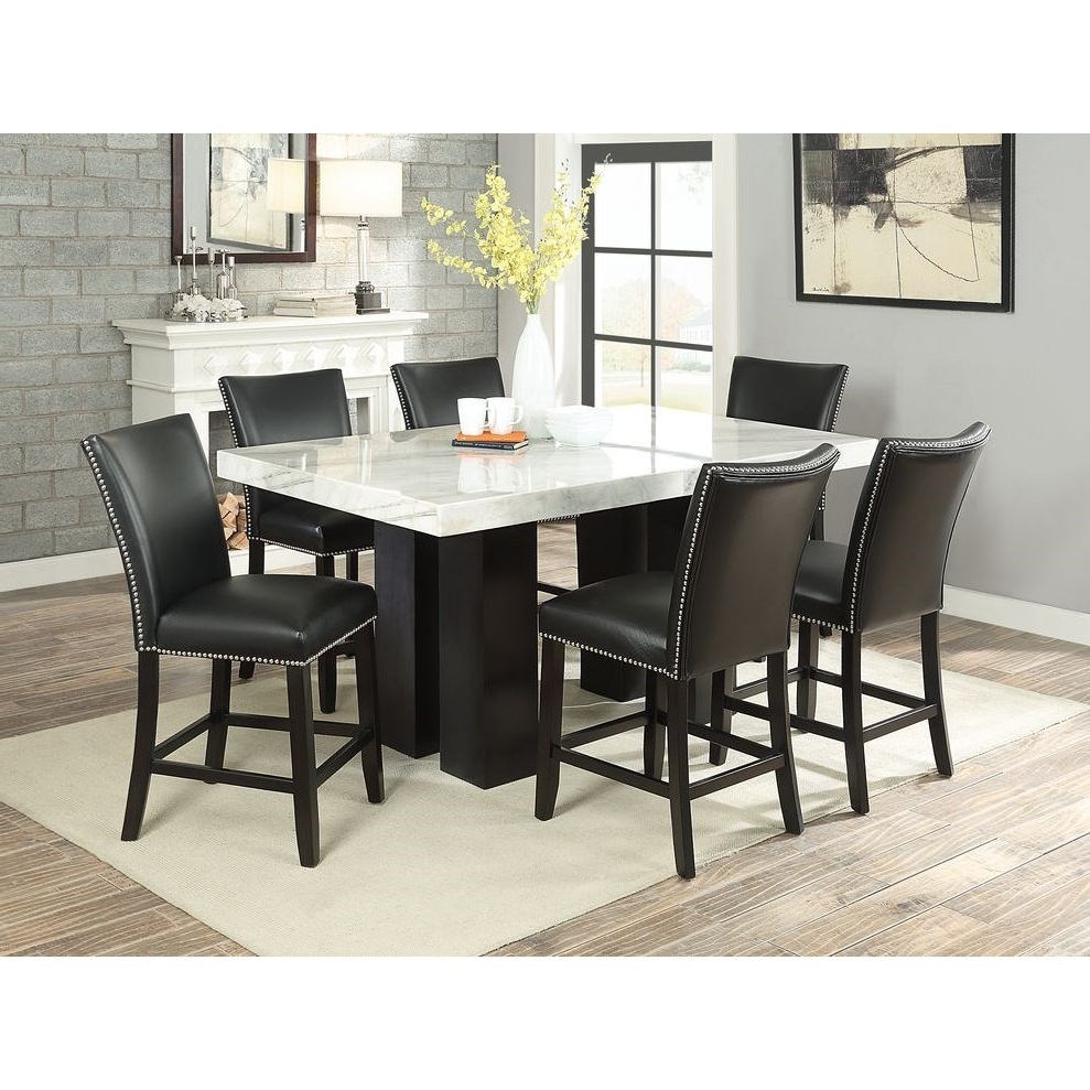 2019 Steve Silver Camila Rectangular White Marble Counter Inside Desloge Counter Height Trestle Dining Tables (View 3 of 20)