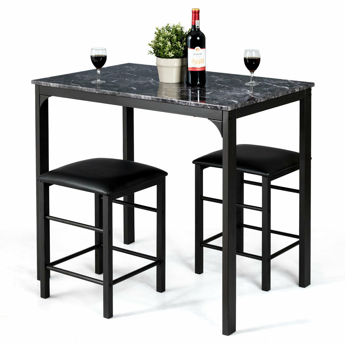 3 Piece Counter Height Dining Set Faux Marble Table 2 Pertaining To Best And Newest Desloge Counter Height Trestle Dining Tables (View 10 of 20)