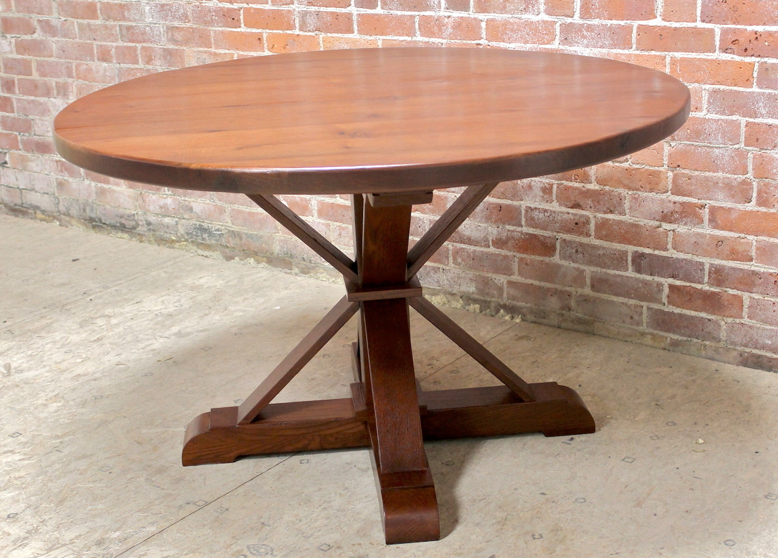 48 Inch Round Oak Table With Phoenix Pedestal – Lake And Within Famous Corvena 48'' Pedestal Dining Tables (View 11 of 20)
