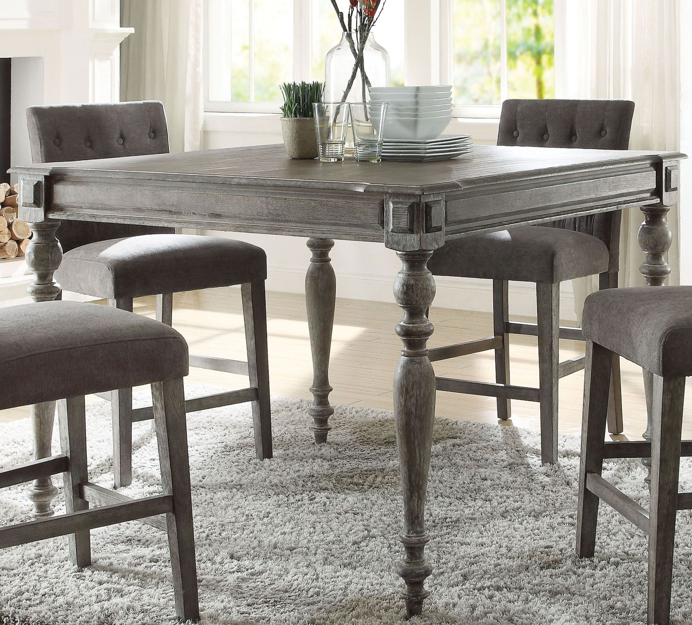 Acme Godeleine Weathered Gray Oak Counter Height Dining Throughout Trendy Desloge Counter Height Trestle Dining Tables (View 8 of 20)