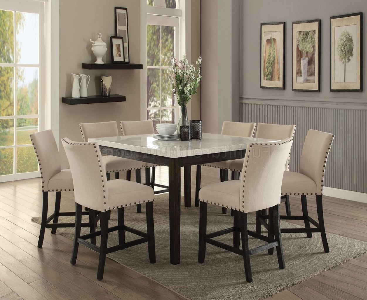 Best And Newest Nolan Counter Height Table 5pc Set 72855 White Marble Top With Regard To Dallin Bar Height Dining Tables (View 14 of 20)