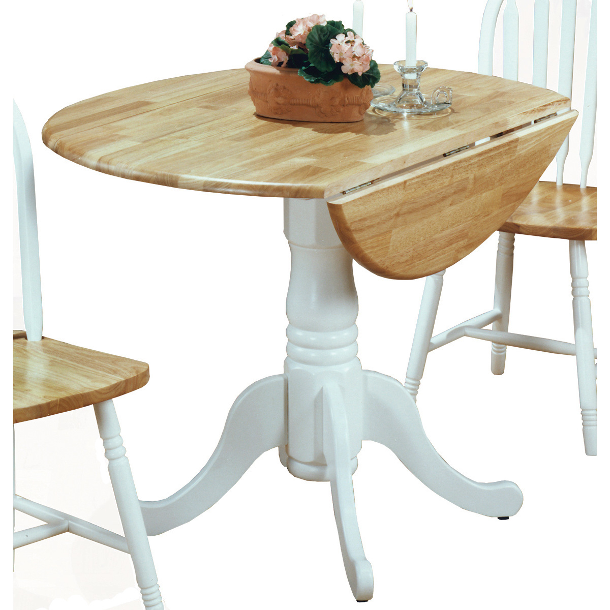 Boothby Drop Leaf Rubberwood Solid Wood Pedestal Dining Tables Within Newest 5140wtdt Drop Leaf Pedestal Table (View 6 of 20)