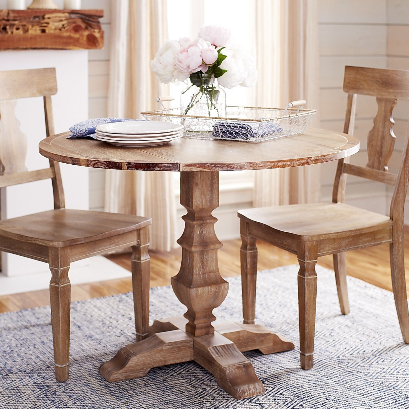 Bradding Natural Stonewash Round Drop Leaf Dining Table Regarding Most Popular Boothby Drop Leaf Rubberwood Solid Wood Pedestal Dining Tables (View 20 of 20)