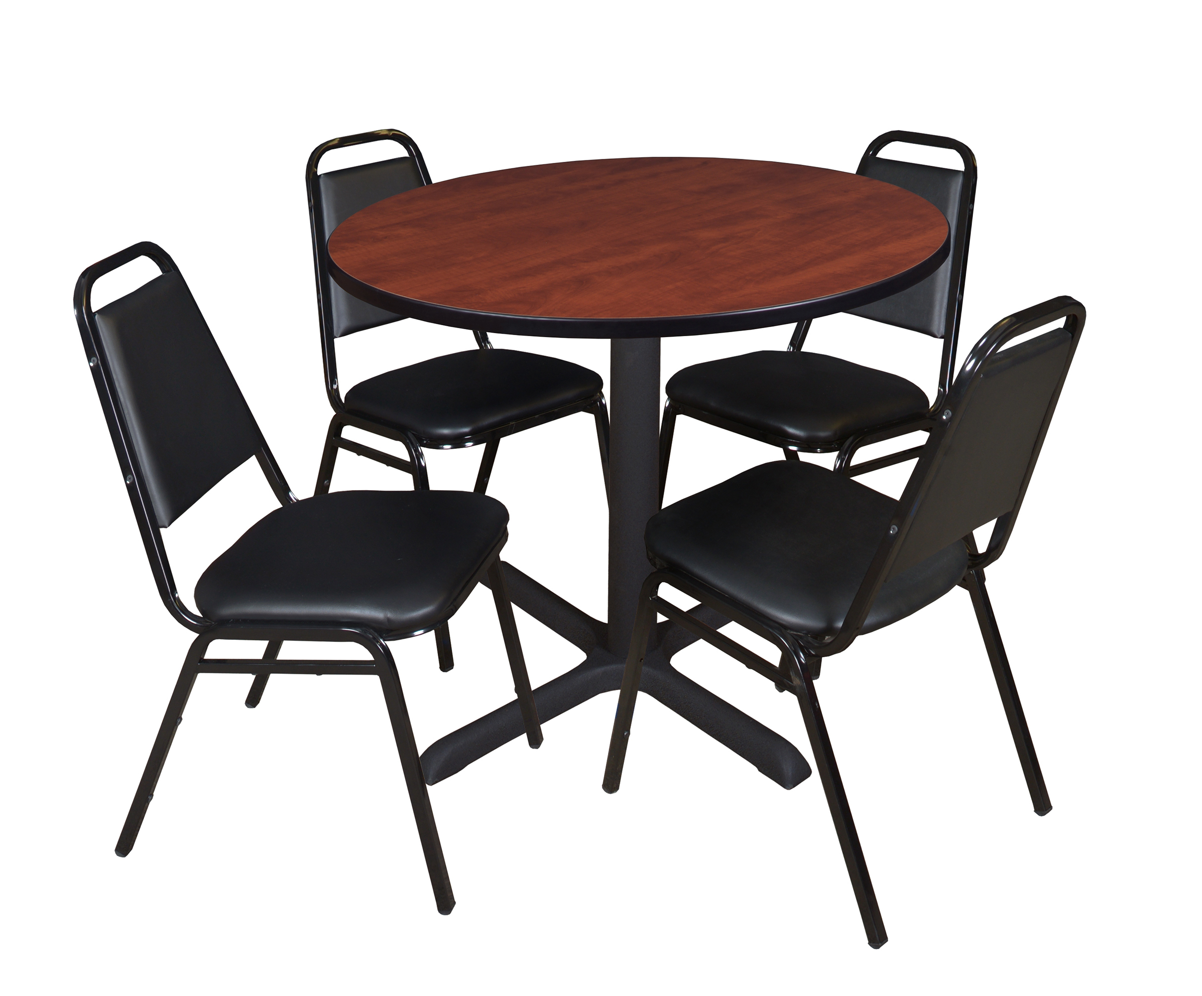 """Cain 36"""" Round Breakroom Table Cherry & 4 Restaurant Regarding Most Recent Round Breakroom Tables And Chair Set (View 2 of 20)"""
