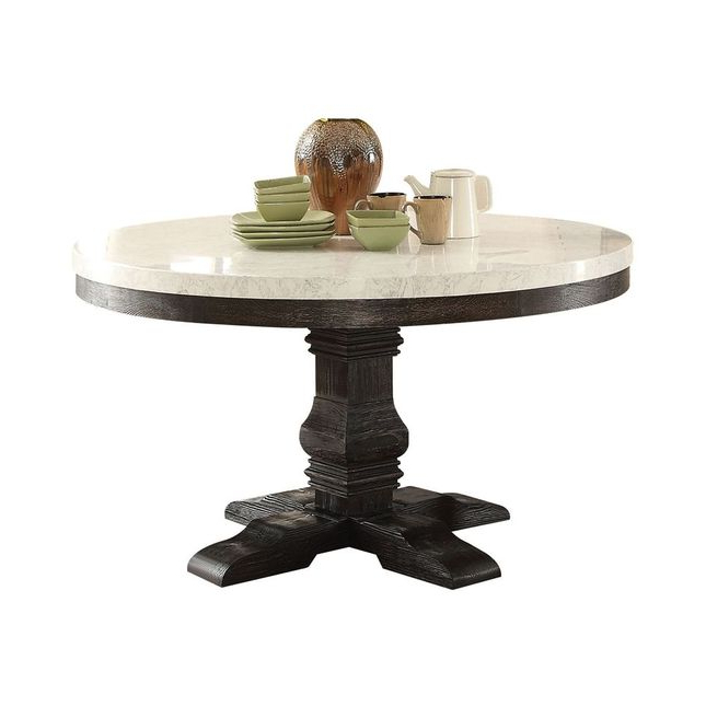 """Current Villani Pedestal Dining Tables With Prescott 54"""" Round White Marble Top Pedestal Dining Table (View 14 of 20)"""