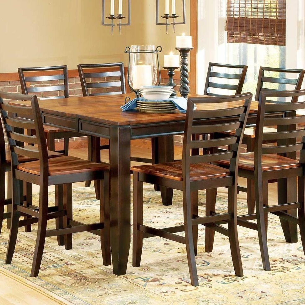 """Dallin Bar Height Dining Tables Inside Trendy Steve Silver Abaco Ab500pt 54"""" Square Solid Acacia Wood (View 12 of 20)"""