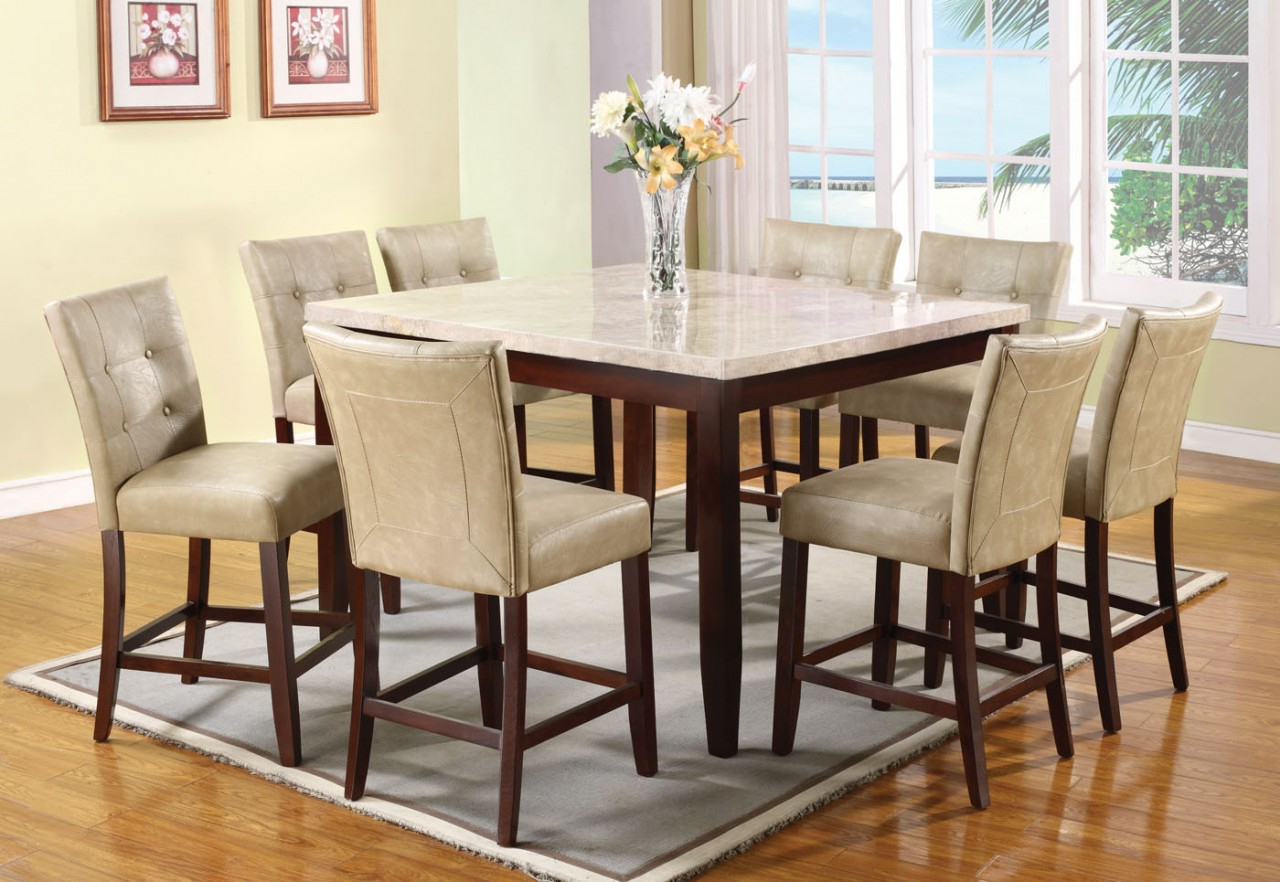 Desloge Counter Height Trestle Dining Tables Pertaining To 2020 Acme Britney 9 Pc Square Marble Top Counter Height Table (View 16 of 20)