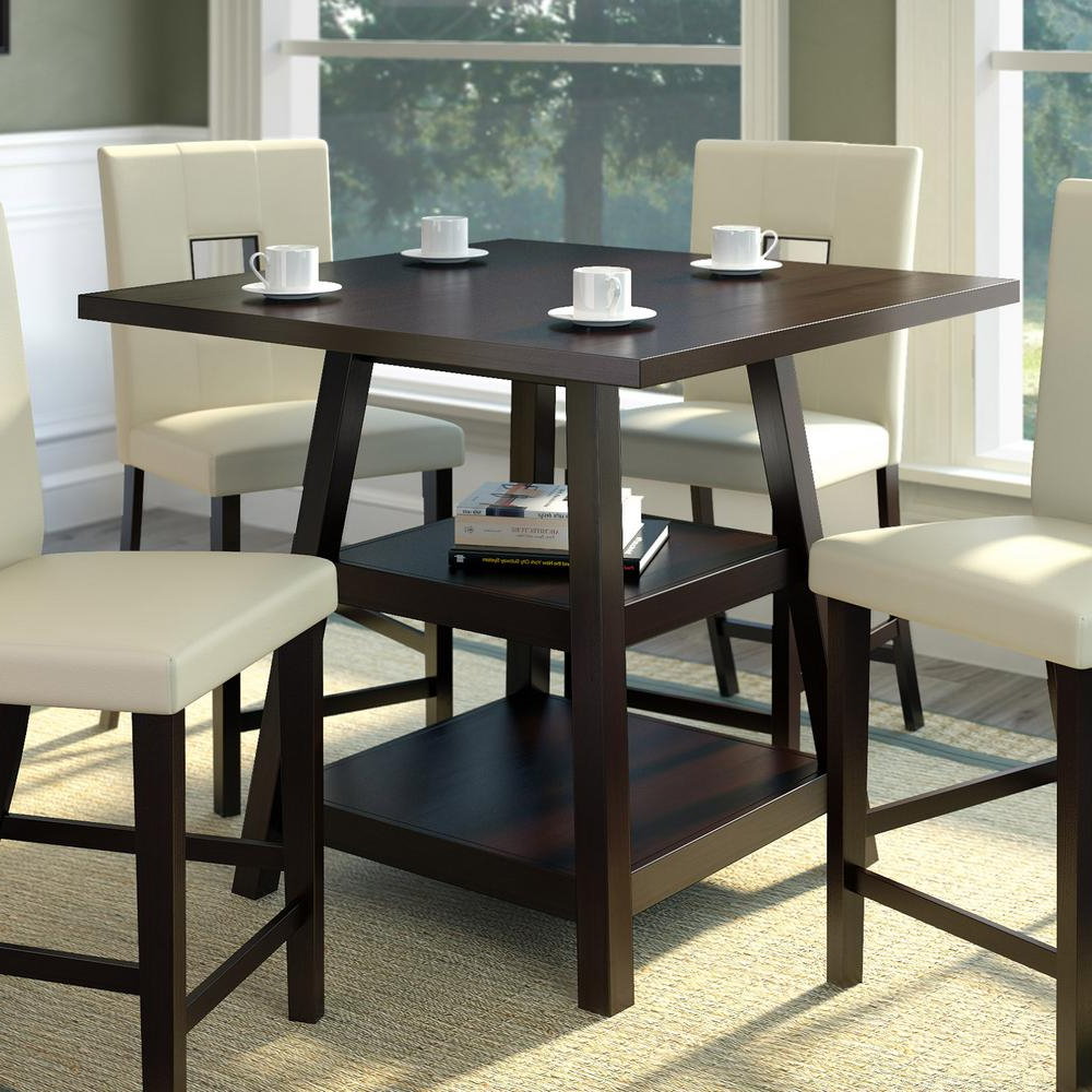 Desloge Counter Height Trestle Dining Tables Pertaining To Most Recent Corliving Bistro Cappuccino 36 In (View 12 of 20)