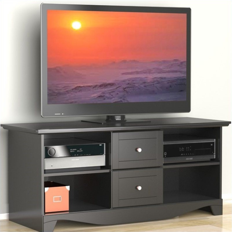 """Dionara 56"""" L Breakroom Tables With Regard To Most Current 56"""" Plasma Lcd Tv Stand In Black Lacquer – (View 14 of 20)"""