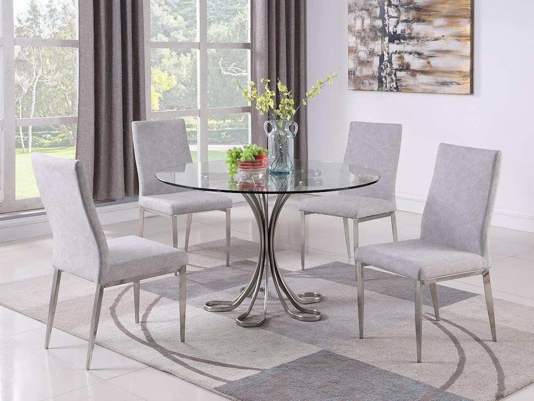 Favorite Contemporary Dining Set W/glass Table & Upholstered Chairs With Regard To Desiree (View 14 of 20)