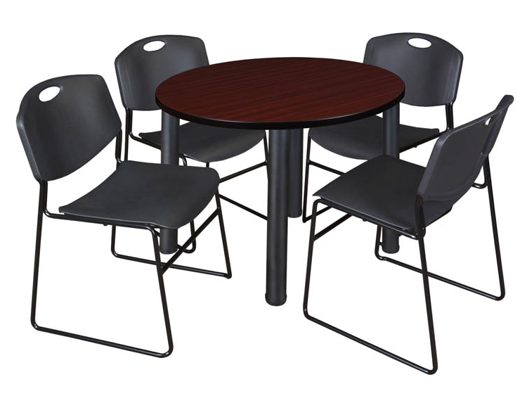 Favorite Round Breakroom Tables And Chair Set Inside Buy Cheap 42″ Round Breakroom Table Mahogany/ Black & (View 6 of 20)