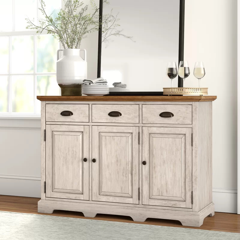 """Fortville 52"""" Wide 3 Drawer Rubberwood Wood Sideboard Pertaining To Fashionable Lewin Dining Tables (View 10 of 20)"""