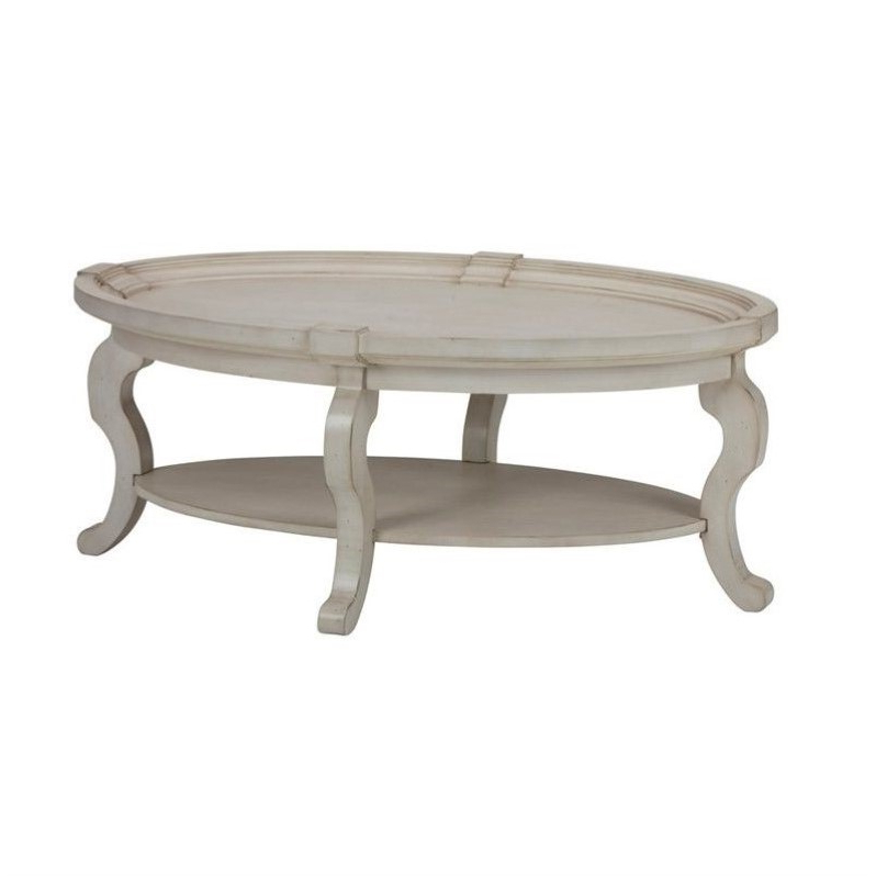 """Jofran Sebastian Oval Coffee Table In Antique Cream – 540 1 Throughout Well Liked Dionara 56"""" L Breakroom Tables (View 2 of 20)"""