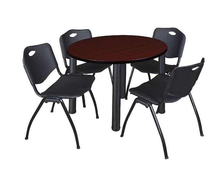"""Kee 36"""" Round Breakroom Table In Mahogany/ Black & 4 'm For Widely Used Round Breakroom Tables And Chair Set (View 4 of 20)"""
