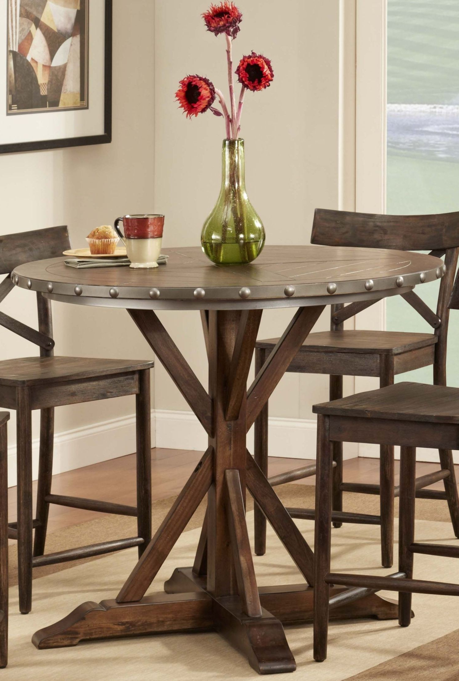 Lance Allegro Brown Round Counter Height Dining Table From Throughout Well Known Dallin Bar Height Dining Tables (View 19 of 20)