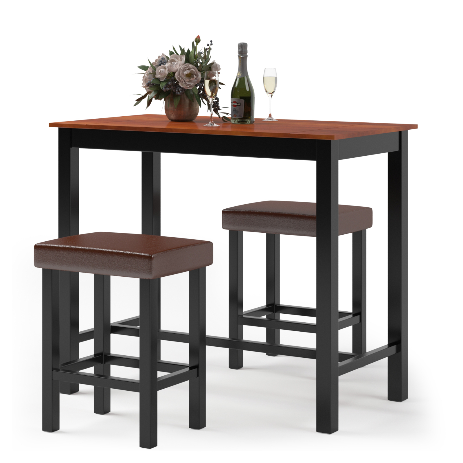 Latest Tudor City 28'' Dining Tables Throughout Costway 3 Piece Pub Table Set Counter Height Kitchen (View 15 of 20)