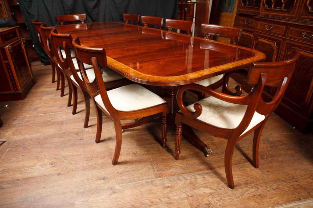 Mahogany Regency Pedestal Dining Table Diner Extending Tables Regarding Trendy Villani Pedestal Dining Tables (View 17 of 20)
