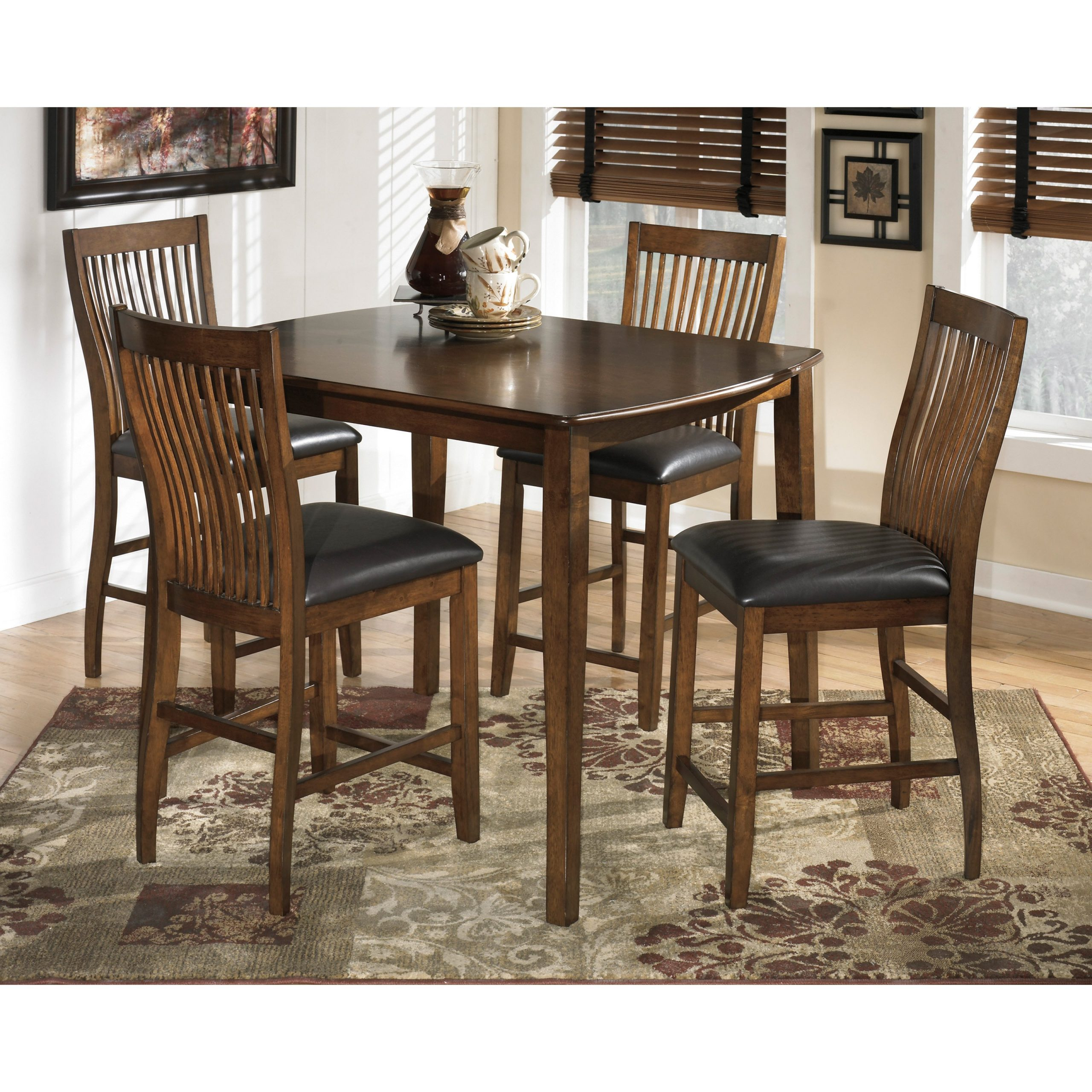 Most Current Desloge Counter Height Trestle Dining Tables Inside Signature Designashley Stuman 5 Piece Rectangular (View 4 of 20)
