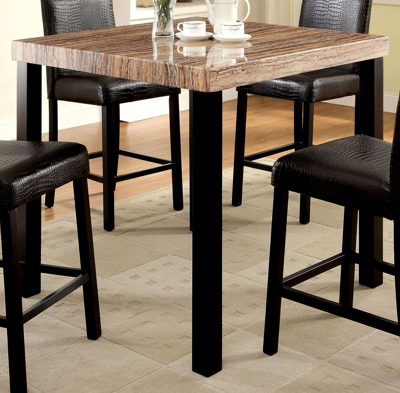 Most Recently Released Desloge Counter Height Trestle Dining Tables Intended For Rockham Ii Black Faux Marble Top Square Counter Height Leg (View 11 of 20)