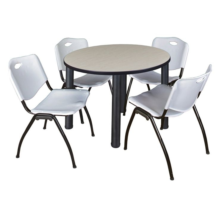 Most Recently Released Round Breakroom Tables And Chair Set Intended For Regency Kee Round Maple Breakroom Table With 4 Stackable M (View 14 of 20)