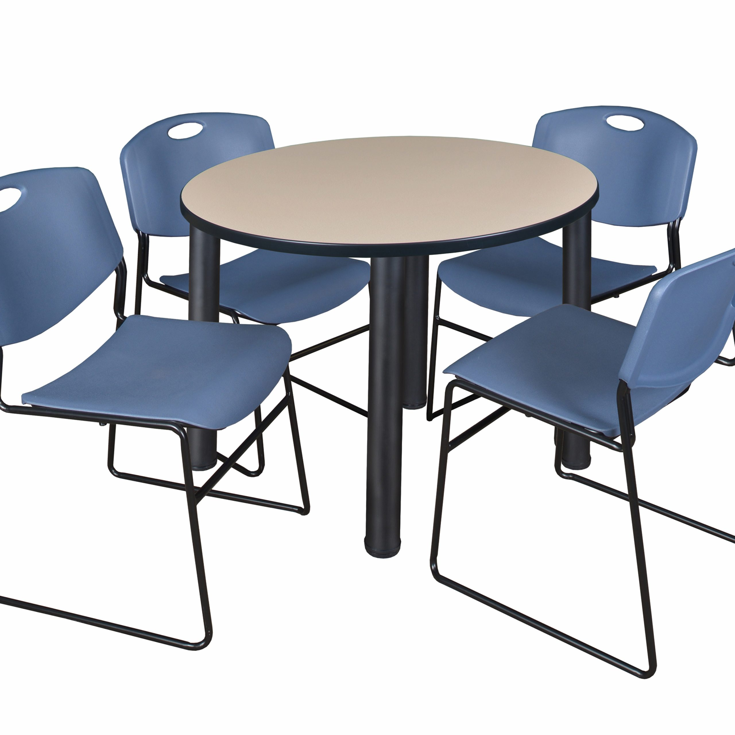 """Most Recently Released Round Breakroom Tables And Chair Set Throughout Kee 42"""" Round Breakroom Table Beige/ Black & 4 Zeng Stack (View 13 of 20)"""