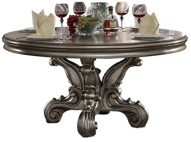 """Most Recently Released Versailles Traditional 60"""" Round Pedestal Dining Table Pertaining To Villani Pedestal Dining Tables (View 20 of 20)"""