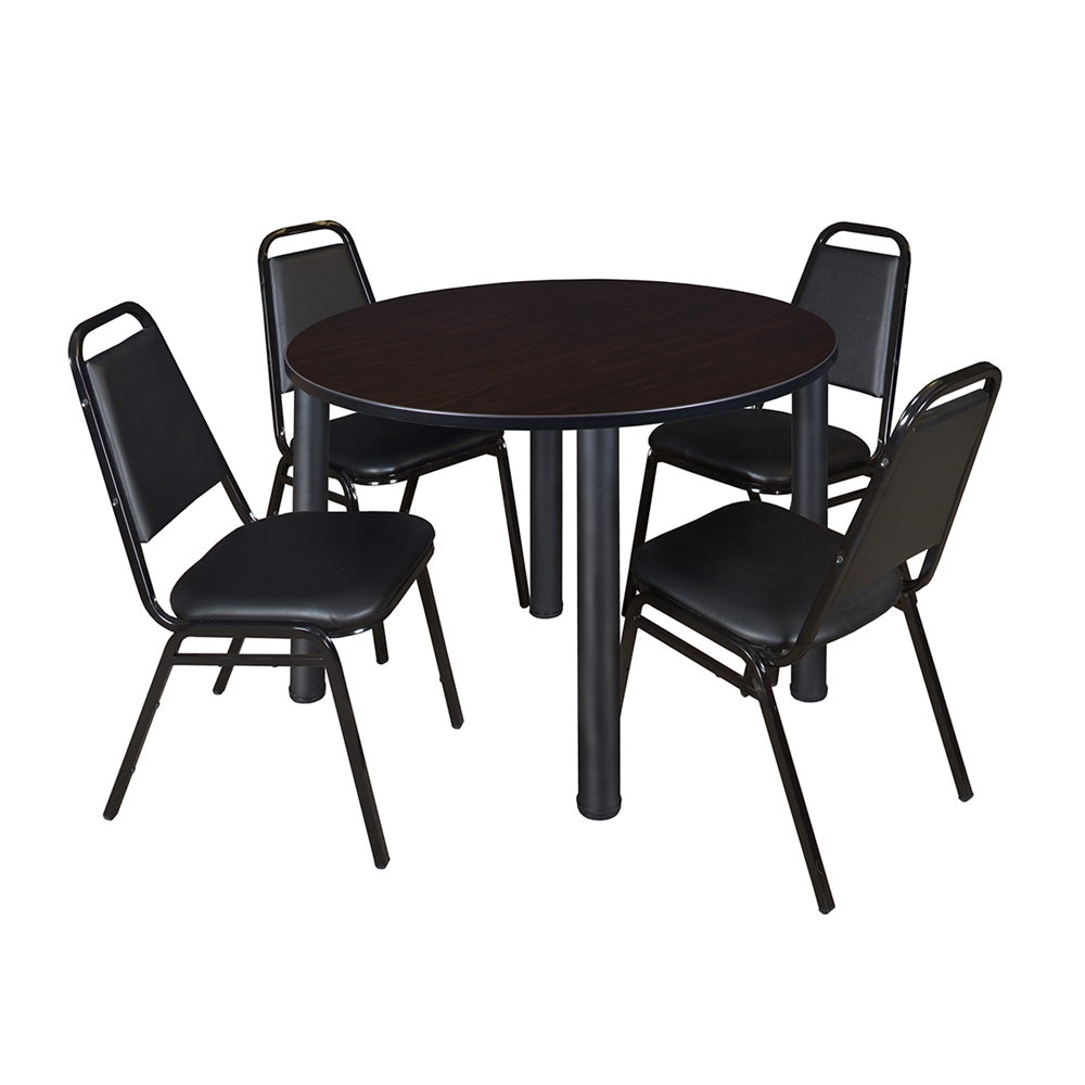 """Most Up To Date Round Breakroom Tables And Chair Set Pertaining To Kee 48"""" Round Breakroom Table Mocha Walnut/ Black & (View 15 of 20)"""