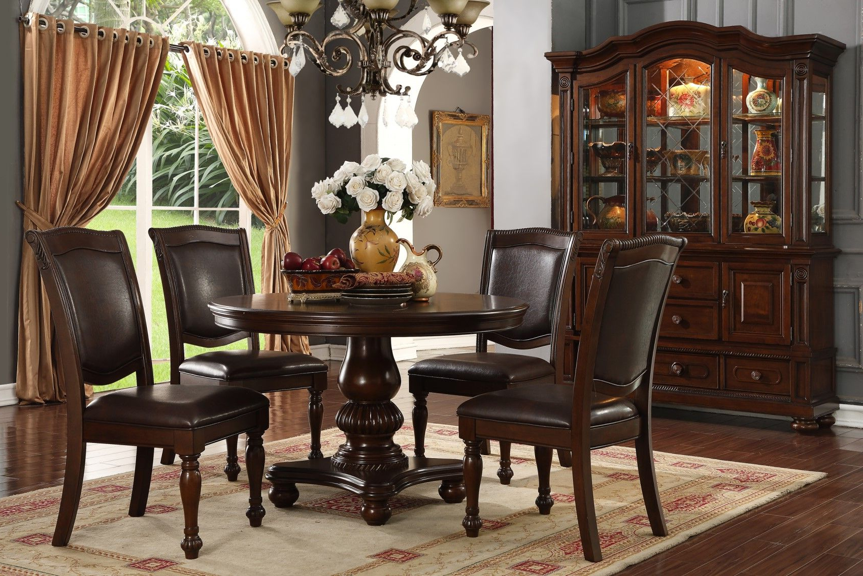 """Popular Exeter 48'' Pedestal Dining Tables Throughout Fox Knoll 48"""" Round Carved Pedestal Dining Table Set W/bun (View 20 of 20)"""