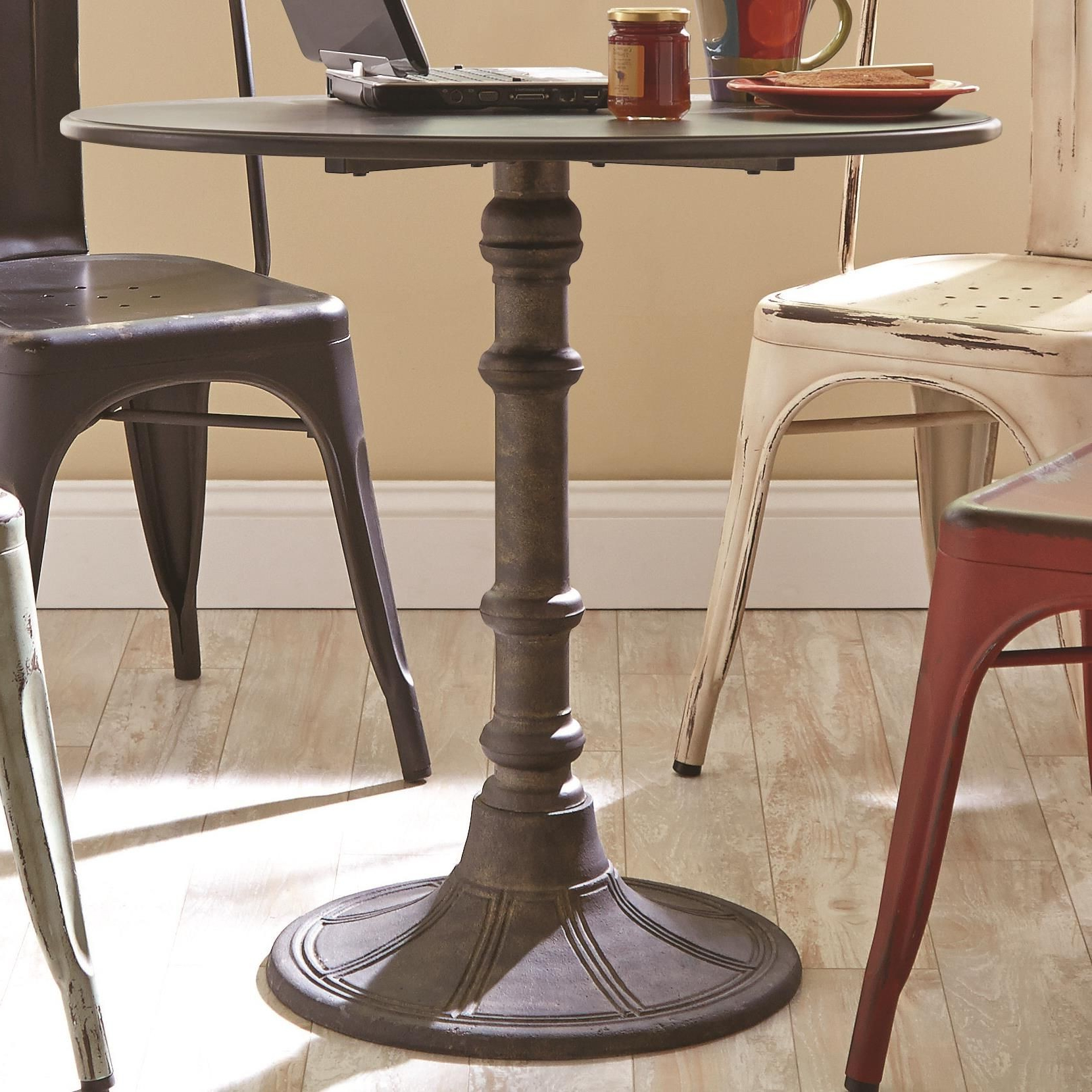 Preferred Oswego Industrial Round Bistro Pedestal Dining Table From Intended For Villani Pedestal Dining Tables (View 11 of 20)