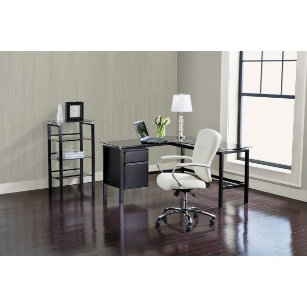"""Realspace® Lake Point 56""""w L Shaped Desk, Black – Zerbee With Regard To Well Known Dionara 56"""" L Breakroom Tables (View 3 of 20)"""