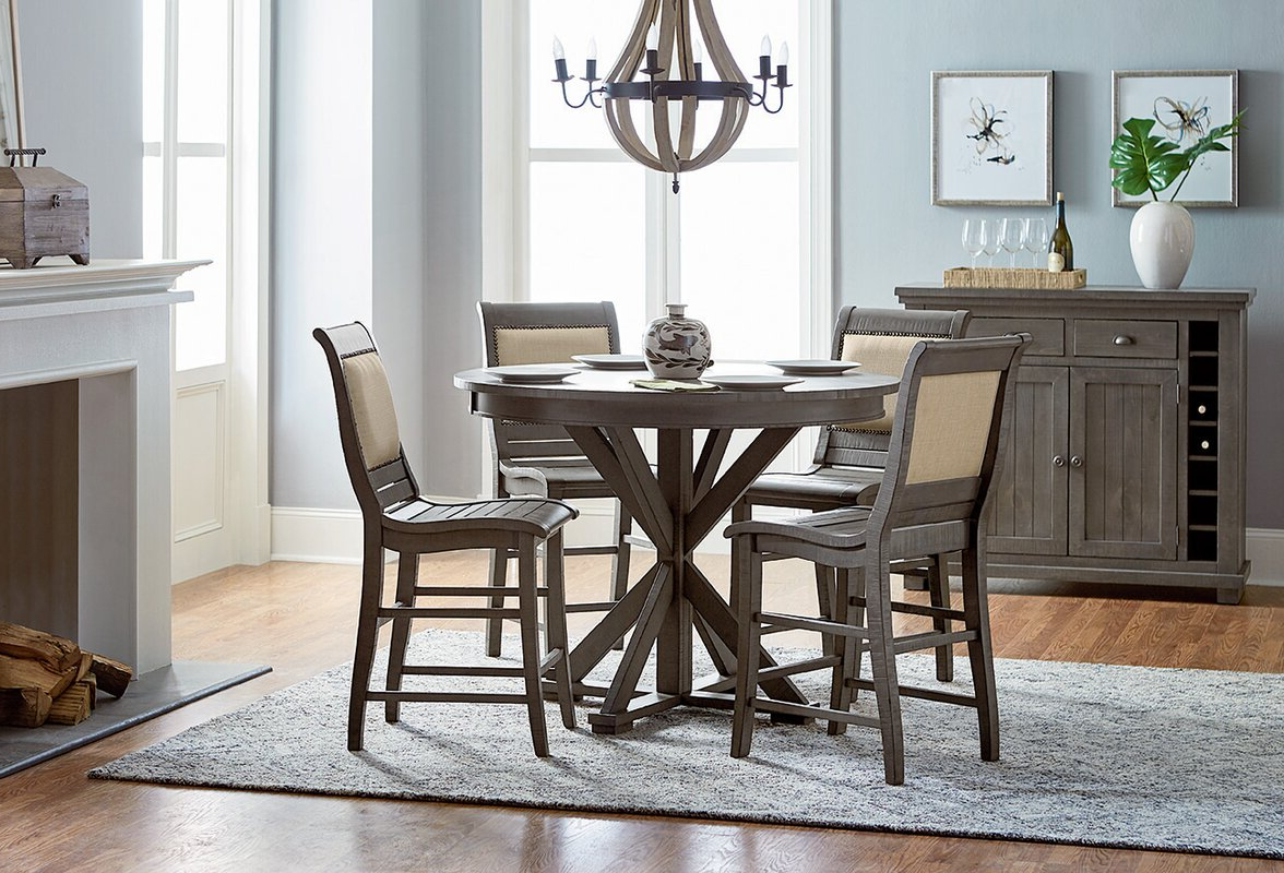 Recent Lark Manor Epine Round Counter Height Dining Table Pertaining To Desloge Counter Height Trestle Dining Tables (View 19 of 20)