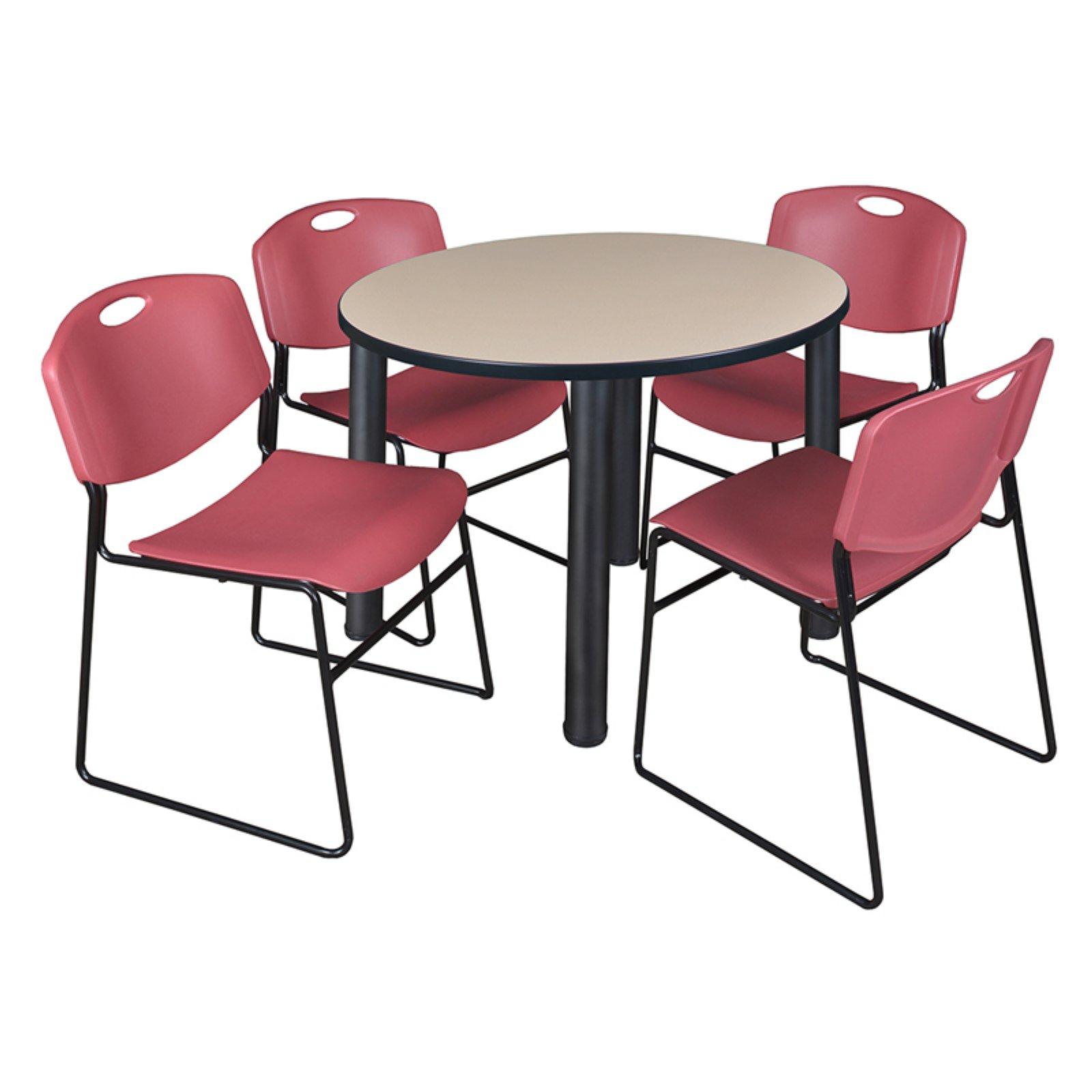 Recent Regency Kee Round Beige Breakroom Table With 4 Stackable With Round Breakroom Tables And Chair Set (View 5 of 20)