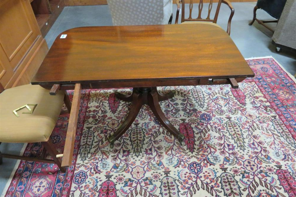 Recent Steven 55'' Pedestal Dining Tables Regarding Lot – Georgian Style Mahogany Double Pedestal Dining Table (View 15 of 20)