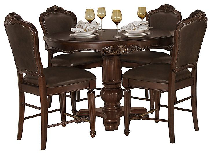 Regal Dark Tone Round High Table & 4 Leather Barstools Pertaining To Well Known Tudor City 28'' Dining Tables (View 2 of 20)