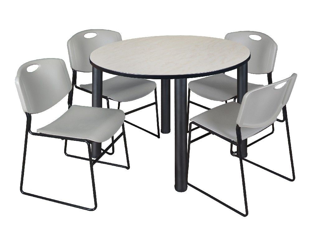 """Round Breakroom Tables And Chair Set For Famous Kee 48"""" Round Breakroom Table In Maple/ Black & 4 Zeng (View 11 of 20)"""