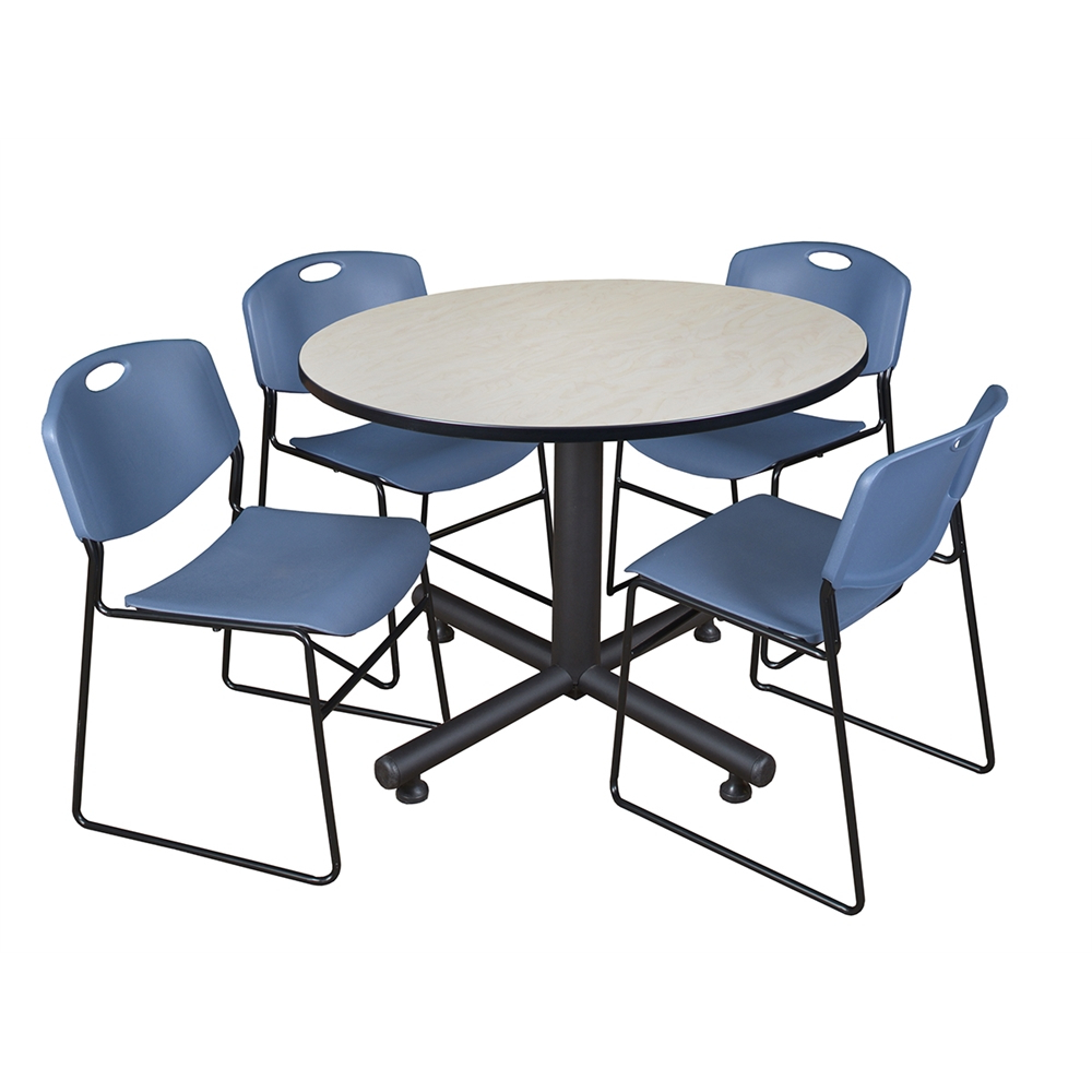 """Round Breakroom Tables And Chair Set Throughout Best And Newest Kobe 48"""" Round Breakroom Table Maple & 4 Zeng Stack (View 10 of 20)"""